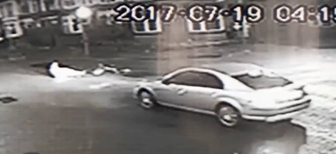 CCTV from a local shop captured the shocking incident unfold.