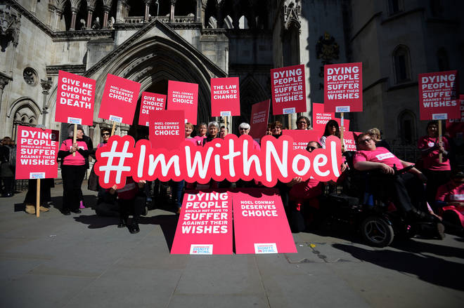 Pro-Assisted dying protesters with Noel Conway