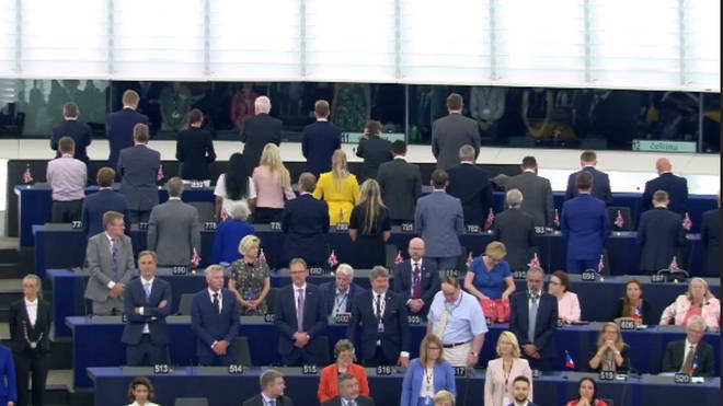 Brexit Party MEPs turn their backs during the EU anthem