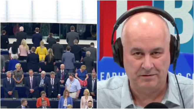Iain Dale was addressing the Brexit Party turning their backs to the EU Parliament when the anthem was played at the opening session.