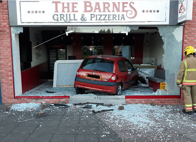 The vehicle smashed through the front of the takeaway