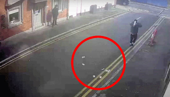 The hapless thieves were caught on CCTV which has been released by police