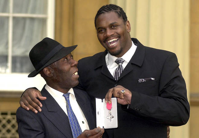 Olympic super-heavyweight boxing champion Audley Harrison with his father Vincent