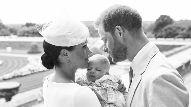 Duke and Duchess of Sussex with their son Archie after his christening at Windsor Castle