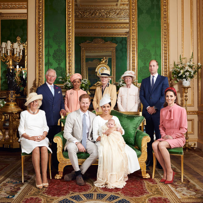 Duke and Duchess of Sussex with their son Archie and members of their extended families after his christening at Windsor Castle