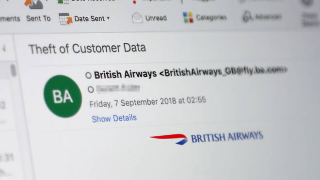 A view of the email sent to British Airways customers over night after a company data breach. Furious BA customers have been left having to cancel their credit cards after a 15-day data breach compromised around 380,000 card payments.