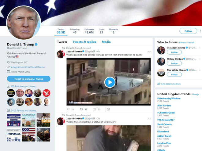 Trump's two retweets from Britain First