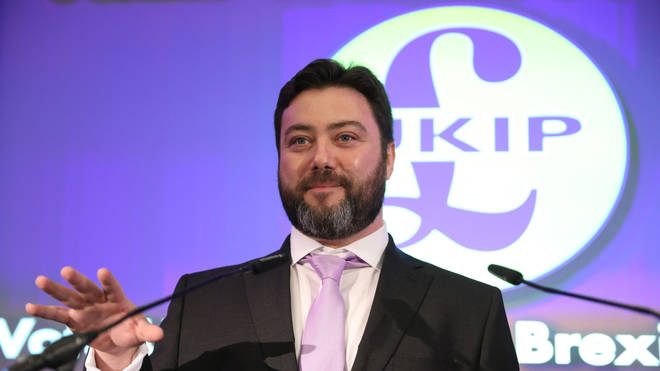 Carl Benjamin speaking at the launch of Ukip's European election campaign in April