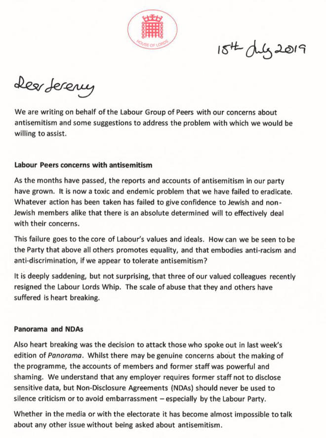 Leading Labour peers wrote a letter to Jeremy Corbyn offering to help combat anti-Semitism in the Party
