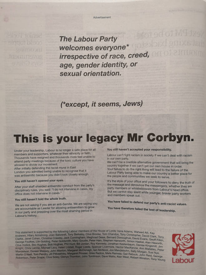 "The Guardian advert says Labour can&squot;t fight racism in society ""if we can&squot;t deal with racism in our own party"""