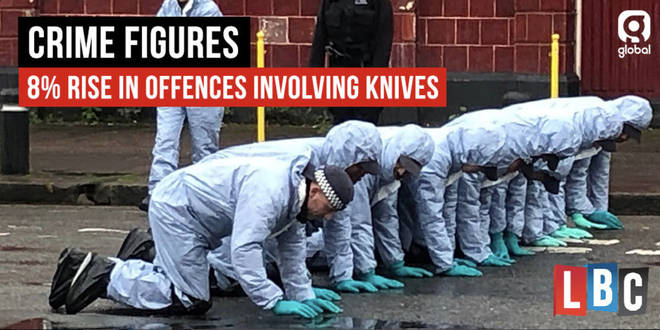 Knife crime offences recorded in England and Wales are up by 8%