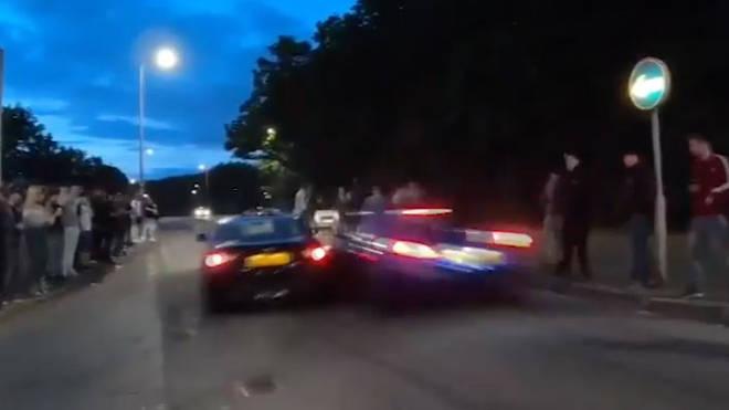 The moment the crash happened in Stevenage
