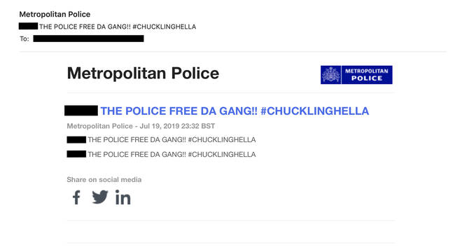An email sent out to journalists from the Met Police media team saying 'f*** the police'