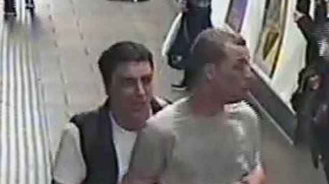 British Transport Police are hunting two men in connection to the release of a gas on board a tube train