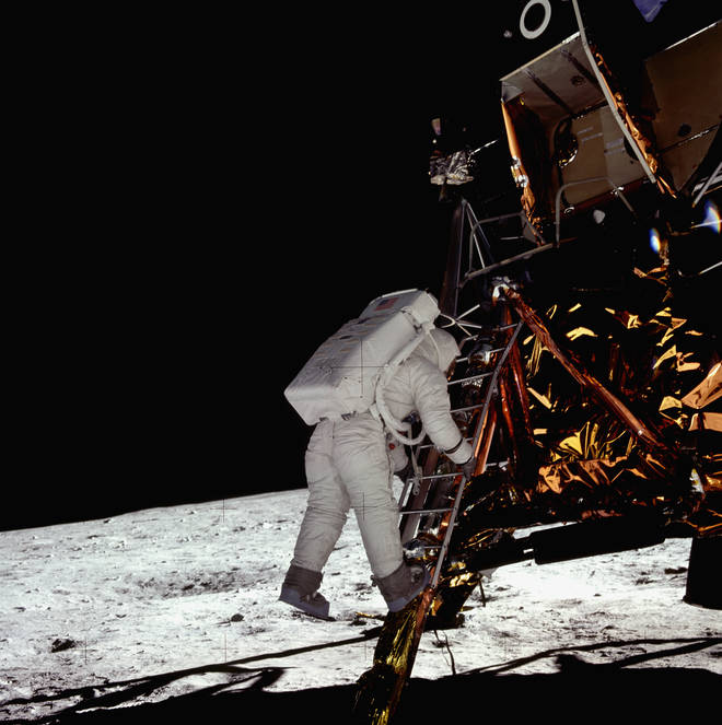 Today is the 50th anniversary of the Apollo 11 moon landing: In this photo, Buzz Aldrin steps down from the Lunar Module on the surface of the moon