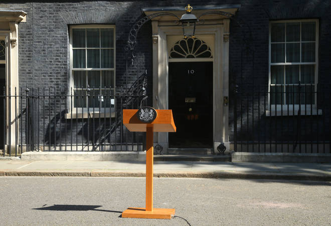 A lectern waits outside Downing Street