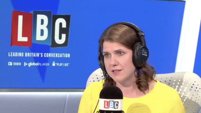 Jo Swinson speaking to LBC