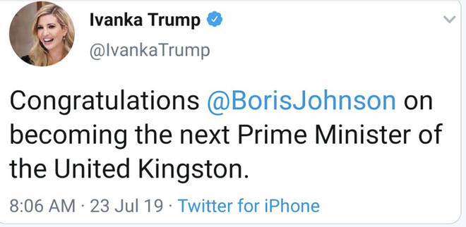 Ivanka Trump's original congratulations tweet