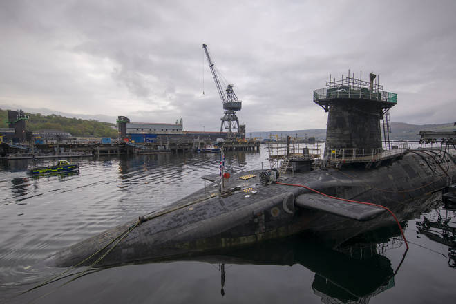 HMS Vigilant at HM Naval Base Clyde, Faslane, the Vanguard-class submarine carries the UK's Trident nuclear deterrent.