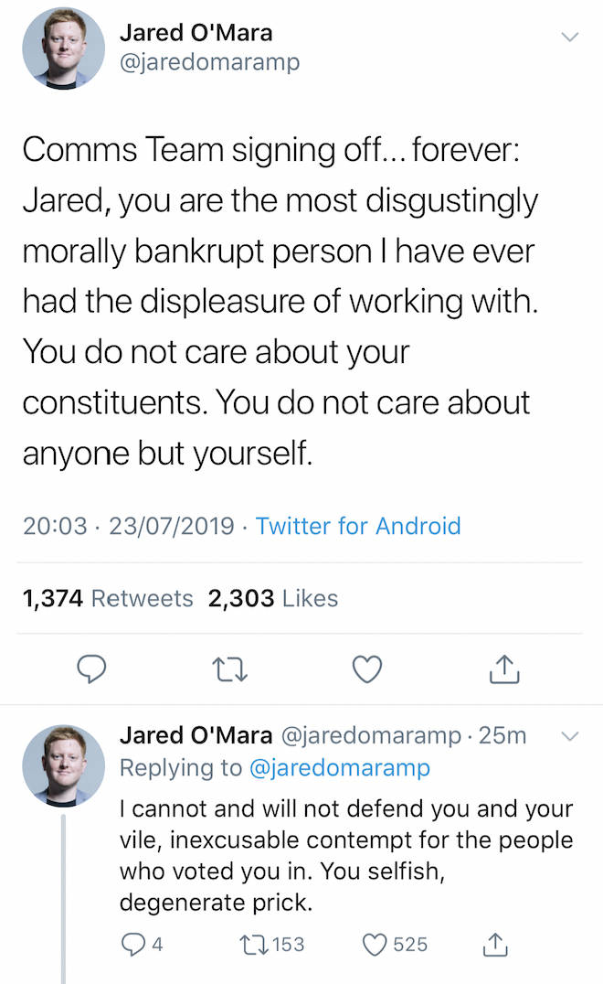 Screenshot of Gareth Arnold's tweet on Jared O'Mara's Twitter account