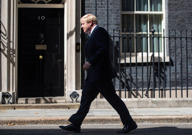 Boris Johnson walked towards Downing Street to deliver his speech
