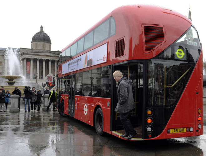 Boris Johnson unveils the new Routemaster bus that he introduced to London