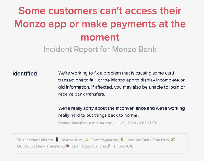 Monzo is experiencing technical problems