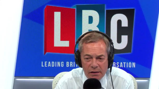 Nigel Farage challenged this caller on Labour's anti-Semitism