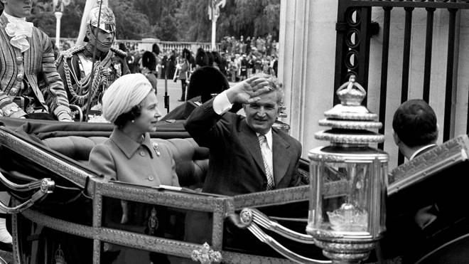 Nicolae Ceausescu with The Queen