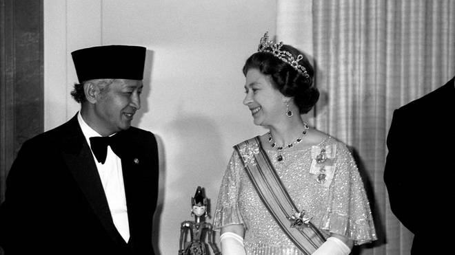 Indonesian President General Suharto with The Queen