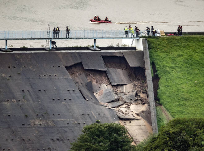 Partial collapse of a dam above Whaley Bridge