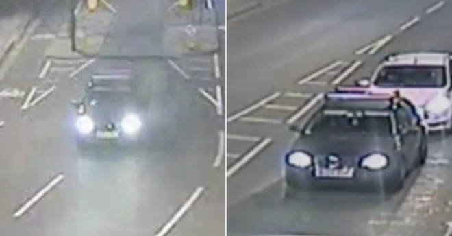 CCTV shows the car driving through Kentish Town after 22-year-old was stabbed
