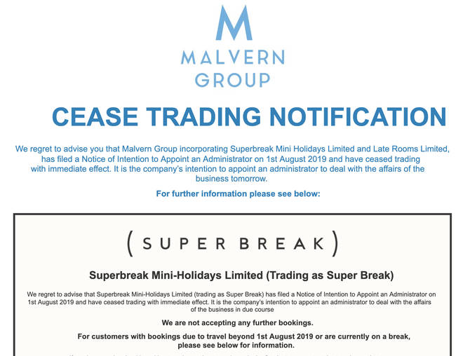 Malvern Group has posted information on its website