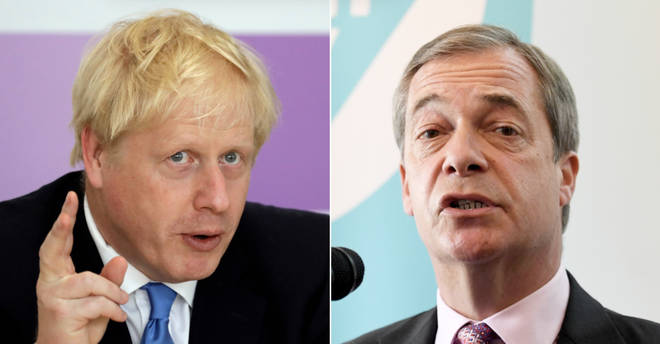 Conservative leader and Prime Minister Boris Johnson and Brexit Party leader and MEP Nigel Farage