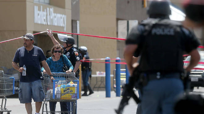 Police outside the Walmart store in El Paso