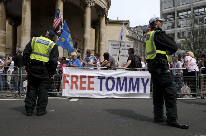 A banner saying, Free Tommy, during the rally in London.