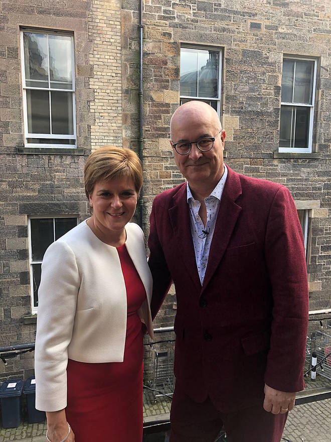 Iain Dale with Nicola Sturgeon after the show