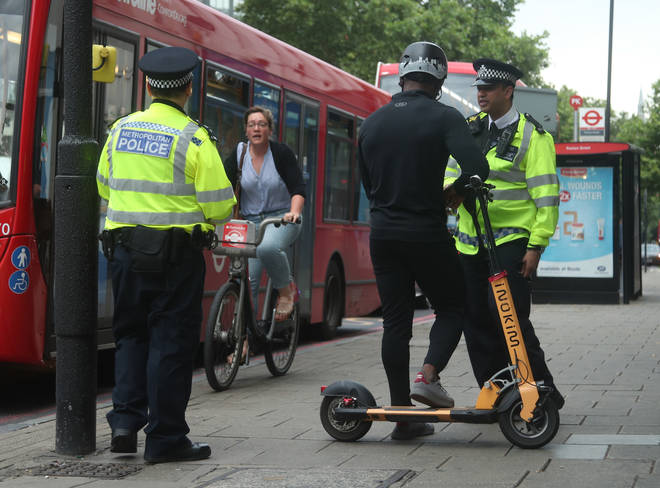 Police stopping users of electric scooters