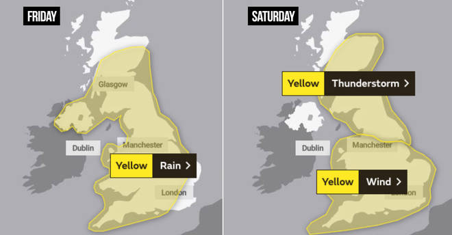 Weather warnings across the UK this weekend
