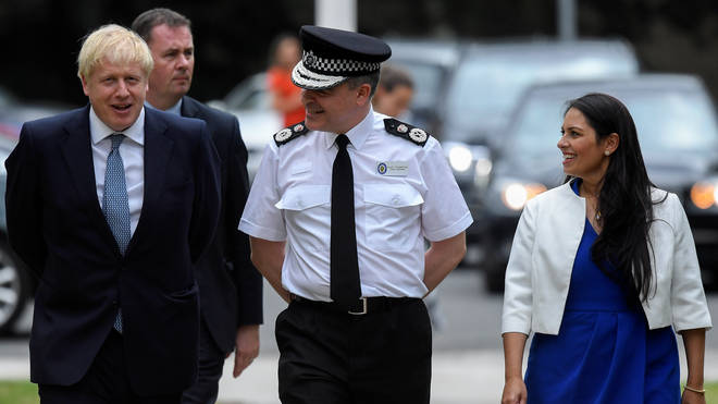 Prime Minister Boris Johnson and Home Secretary Priti Patel meet with Chief Constable of West Midlands Police Dave Thompson