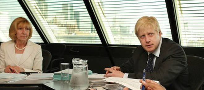 Baroness Patience Wheatcroft and Boris Johnson