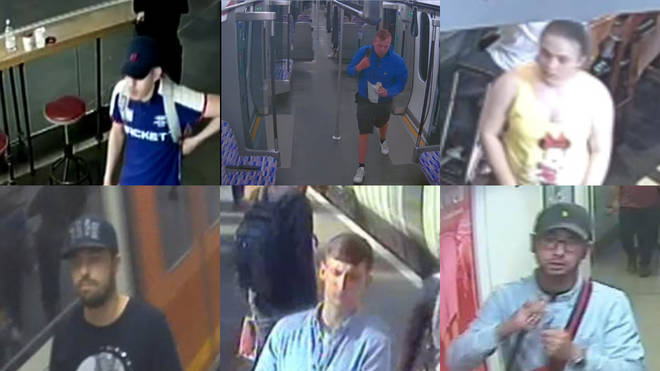 British Transport Police are seeking six suspects