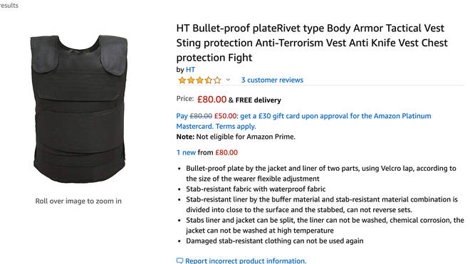 Stab Vests are available for sale on the internet