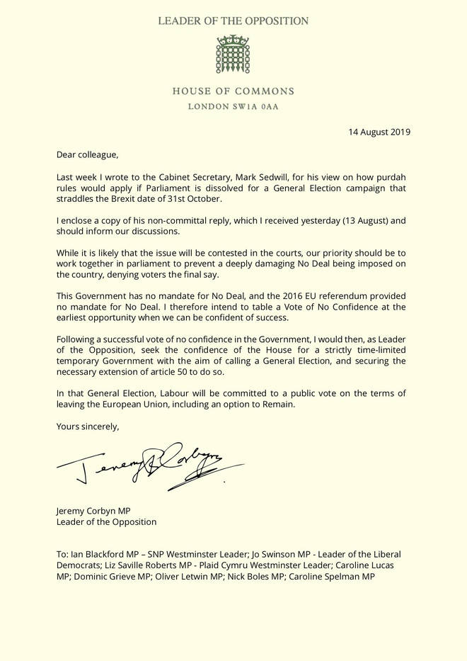 Jeremy Corbyn's letter to MPs