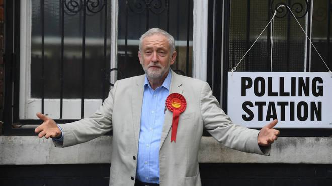 Jeremy Corbyn at the polling station