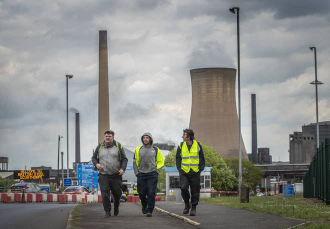 Workers leaving the steelworks plant in Scunthorpe in May when it went into insolvency.