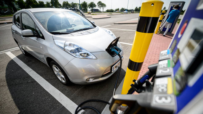 A car at a charge column for electric vehicles in Germany.
