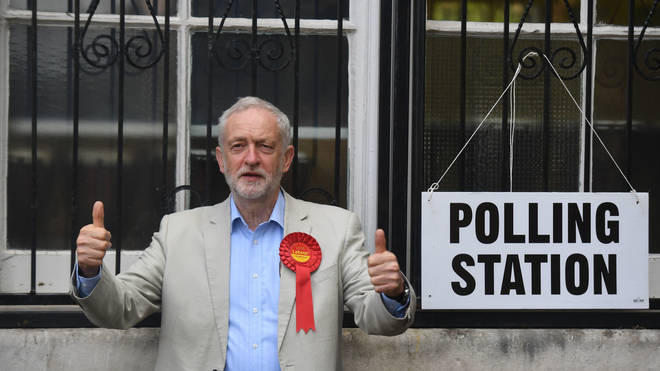 Jeremy Corbyn outside a polling station.