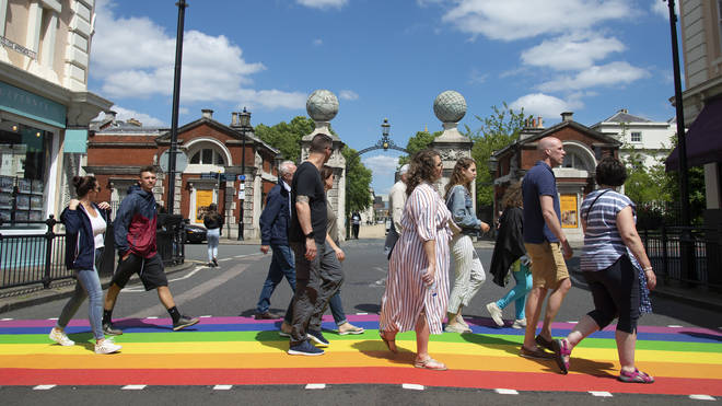 It is the first permanent rainbow crossing in the capital