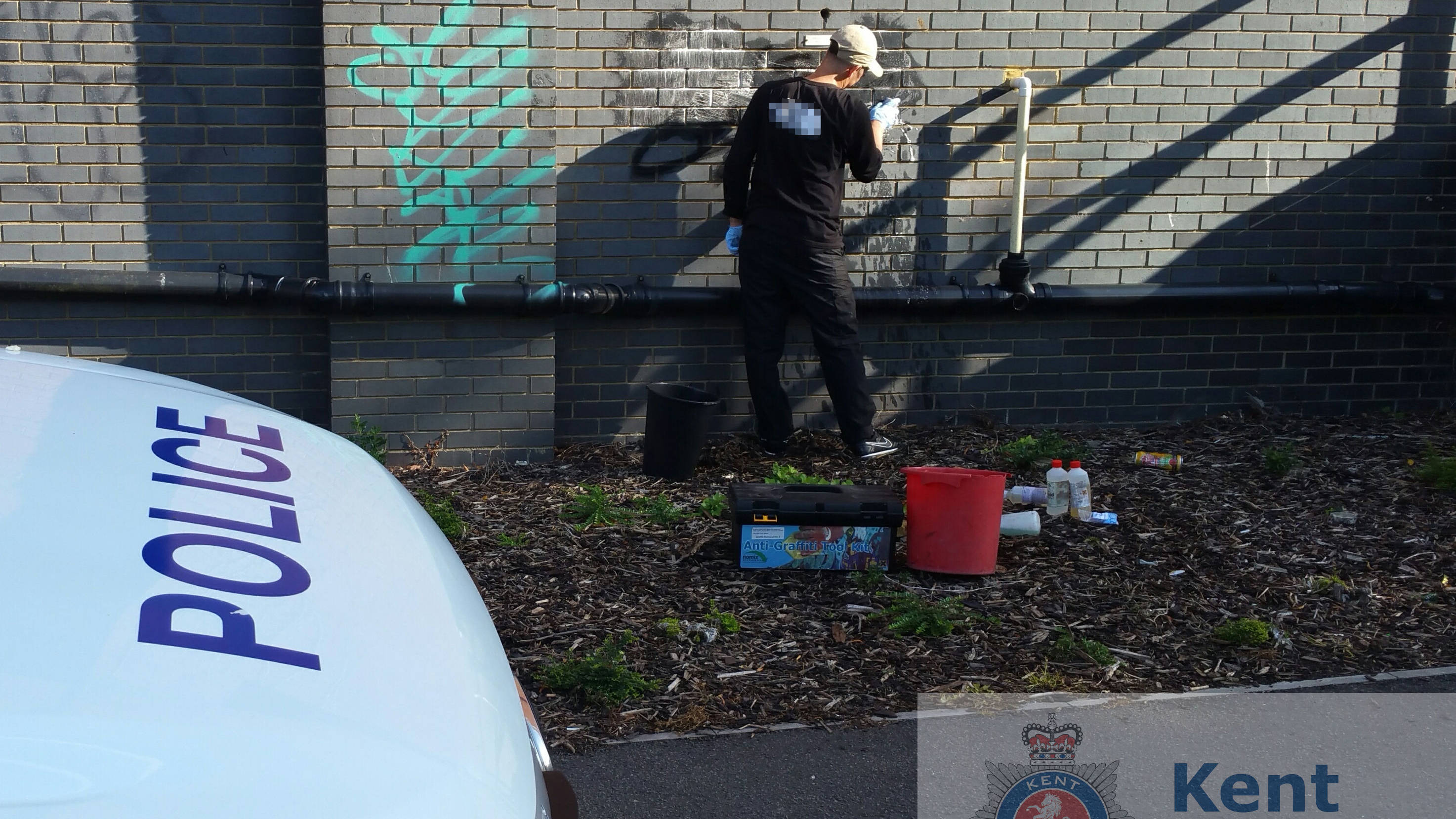 Police Force Man To Clean Up His Graffiti Vandalism